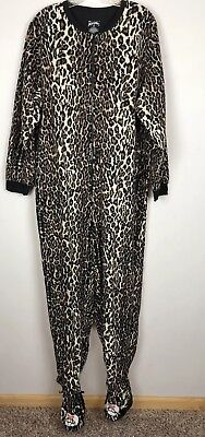 Nick & Nora Leopard Print Fleece Cat Footie Pajamas Cosplay Halloween Kitty XXL
