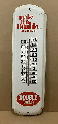 """Vintage Double Cola Thermometer Metal Pop Soda Bottle Rare Size 27"""" Gas Oil Sihn"""