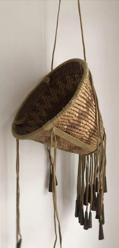 """Native American Indian Vintage Old 8"""" Tall Woven Apache Burden Basket Dangles"""