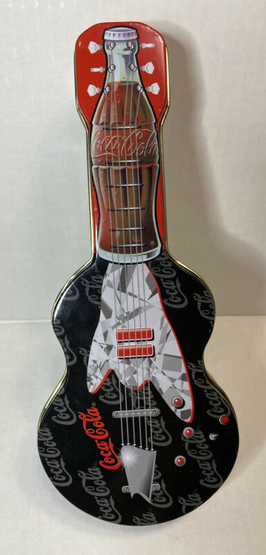 Red Vintage Coca Cola Guitar Shaped Tin Box
