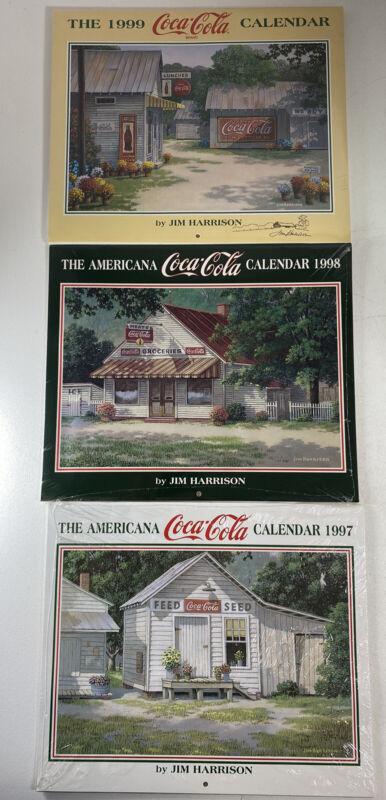 (3) Jim Harrison Coca Cola Calendar Lot 1997 1998 1999 One Signed SEALED