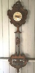 57 Antique Italian Rococo Baroque Floral Carved Ornate Wood Wall Clock Works