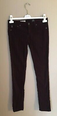 Anthropologie AG The Legging Plaid Cord Skinny Jeans Size 27 Burgundy/Black Ag Jeans, Cord Jeans