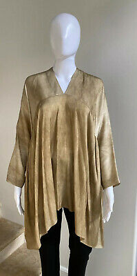 NWOT $985 UMA WANG Silk Taci Top Tan Draped Tunic, Size Medium