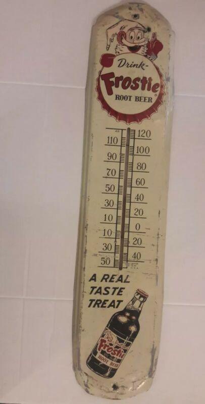 "Vintage 1950s ""Drink Frostie Root Beer"" Large Metal Soda Advertising Thermometer"