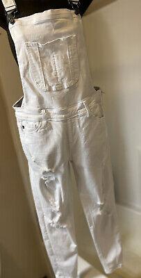Vintage Overalls & Jumpsuits Kancan White Distress Denim Overalls Ladies Medium KC6147WT Cut #4568 $22.00 AT vintagedancer.com