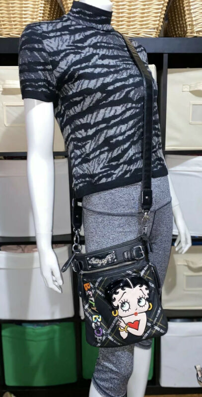 """Betty Boop Crossbody Black Bag Adjustable Strap 10""""H x 9.5""""W,expandable Preowned"""