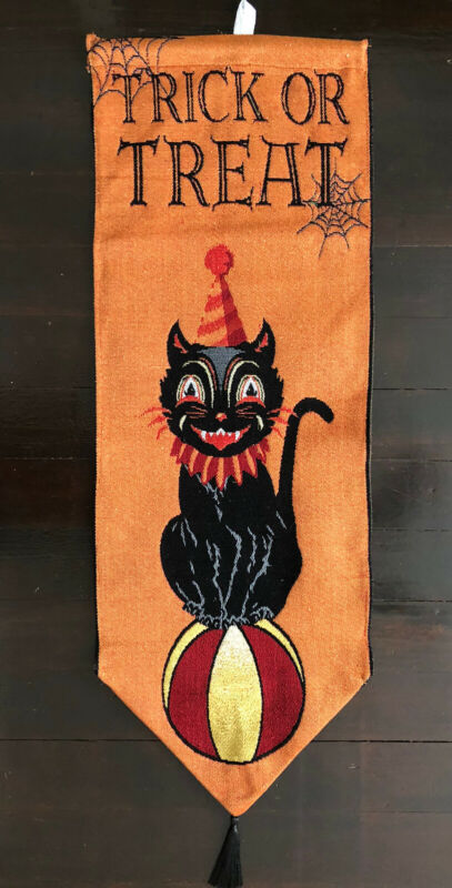 HALLOWEEN VINTAGE STYLE FOLK ART BLACK CAT TAPESTRY WALL HANGING NEW 12.75x35.5