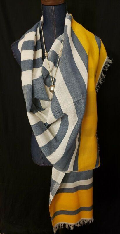 """Ethiopian cotton shawl wrap....yello & gray ethiopian alphabet  26""""×74"""""""