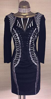 Exquisite Karen Millen Black Silver Mesh Embroidered Pencil Dress Uk8 Stunning