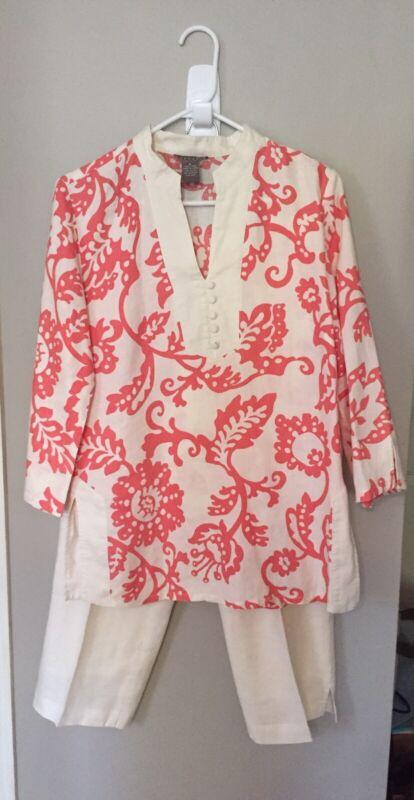 Womens Sz 8 Kenar Tunic Top & Capris Outfit Ivory & Coral Linen #HB