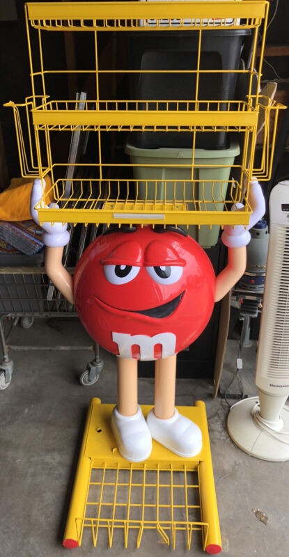 RED Peanut M&M Character Store Advertising Display Rack 5' High Great Condition!