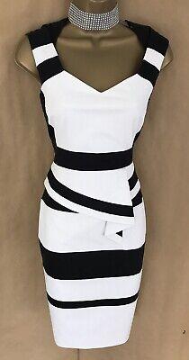 Exquisite Karen Millen Dress Size 8 Black and White Colour Block Cotton Dress