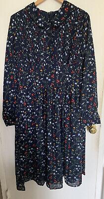 Unique Vintage 1940s Style Navy & Multicolor Floral Deirdre Shirt Dress