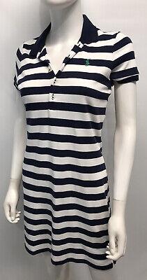 Polo by Ralph Lauren Shirt Dress 100% Cotton Navy Blue White Stripes EPOC SZ M