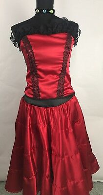 Cosplay Costume Red Womens Can Can Dance Cabaret Artist Saloon Adult  for sale  San Antonio
