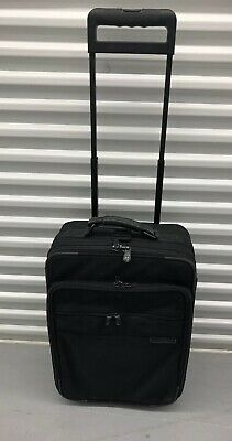 BRIGGS & RILEY BASELINE BLACK BALLISTIC NYLON WHEELED CARRY-ON LUGGAGE BAG (Briggs & Riley Baseline Luggage)