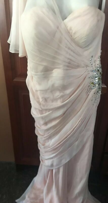 JOVANI Beaded Rhinestone Blush Pink PROM  PAGEANT FORMAL DRESS GOWN SIZE 18