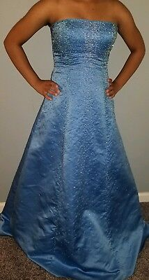 Formal Gown Prom Dress Pageant Bridal Beaded Ballgown & Shawl sz.6 Blue Wedding Dress Gown Shawl