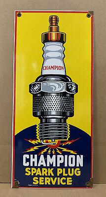 Vintage Champion Spark Plug Service Porcelain Sign Gas Oil Garage Wall Decor