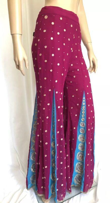 Indian Wedding Pants Santoshi Sequin Embroidered Big Bell Palazzo Pants Pull On