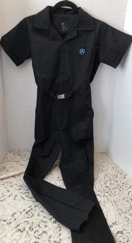 Vintage Kids Mechanic Coveralls Canvas Cotton Jumpsuit Size L Black NOS Vintage