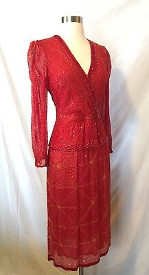 Size XS VTG 80s Judith Ann Red Silk Beaded Cocktail Dress Roaring 20s Flapper