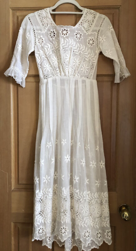 Antique Embroidered Edwardian Tea Dress Perfect Immaculate Condition, Stunning!