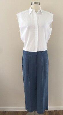 New JCREW Collection Thomas Mason jcrew wide-leg jumpsuit White Blue C4813 SZ 4