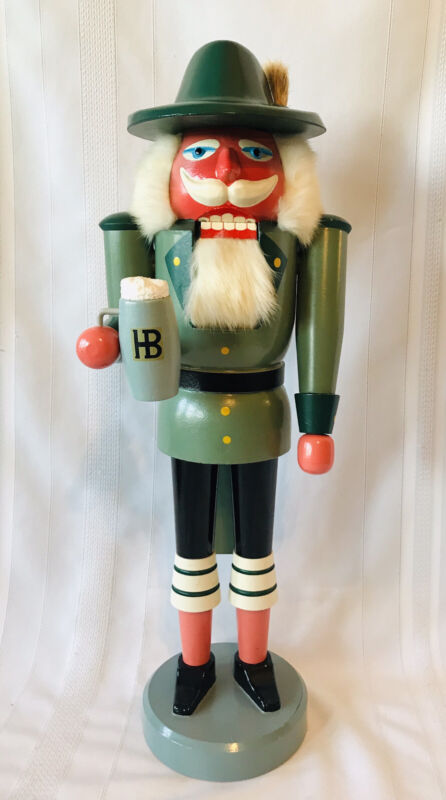 "Antique German Bavarian Nutcracker HB Beer Mug Signed 21"" Tall Fur"