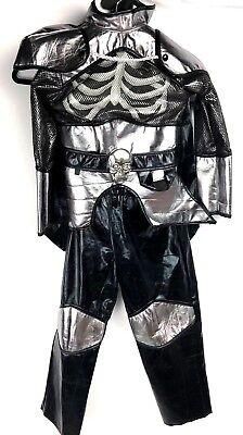 Teetot & Co. inc Black Silver Skelton Chest Cape Costume Set Size 5-6