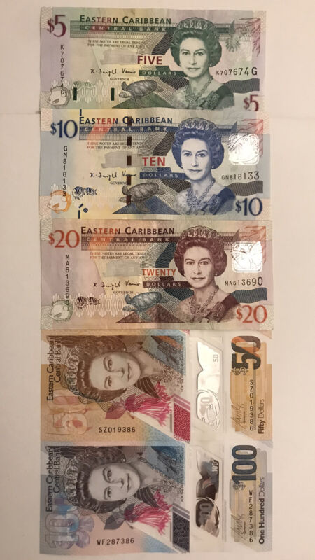 Eastern Caribbean 5 - 100 Banknotes Set Polymer Currency