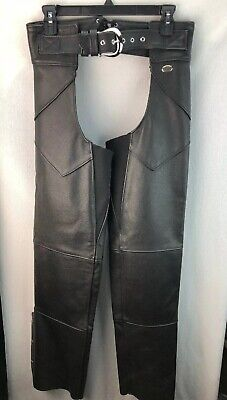 WOMENS HARLEY DAVIDSON LEATHER CHAPS SIZE S BLACK