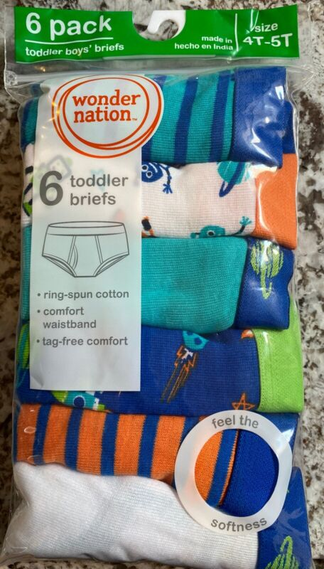 NEW IN PACKAGE 6 PACK TODDLER BOY BRIEFS SIZE 4T-5T SPACE PATTERNS