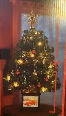 """24"""" Prelit Christmas Tree With Vintage Red Pickup Truck Lighted Base"""