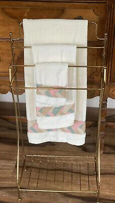 Vintage Gold Tone Hollywood Regency Free Standing Towel Rack Bathroom Storage segunda mano  Embacar hacia Mexico