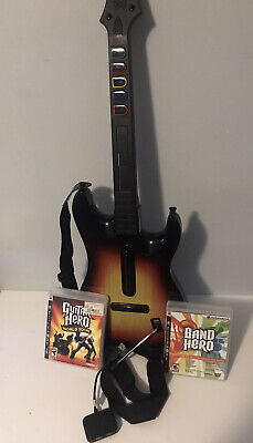 Guitar Hero PS3 Sunburst Guitar Red Octane with Dongle And Games Good Condition!