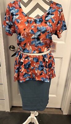 LULAROE Outfit NWT Medium Floral Orange Classic T Small Solid Grey Blue Cassie