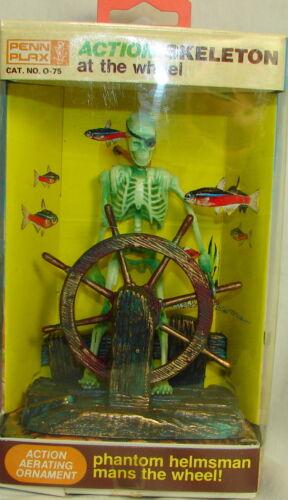 Penn Plax Animated Action Air Skeleton Bubbler Wheel Aquarium Ornament Toy,NEW