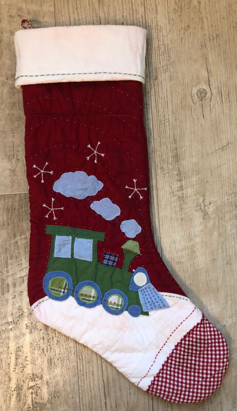 Pottery Barn Kids classic Large quilted stocking Christmas Train NO MONO