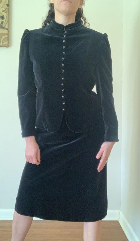 Vintage Cymbae Black Velvet Suit Made In Japan Medium
