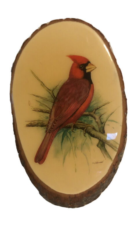 "Vintage 12"" Handmade Signed Red Cardinal Bird Art Wall Plaque On Raw Wood"