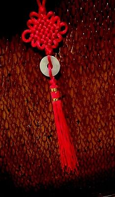 Good Luck Hanging Charm With Jade And Red Chinese Knot