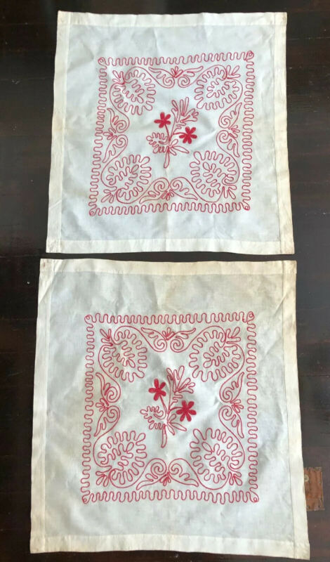 2 ANTIQUE TURKEY REDWORK EMBROIDERED LINEN FLORAL PILLOW OVERLAYS 25x27