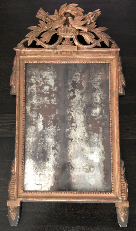 Antique 18th C. Italian Gold Leaf Frame Wood Back Mirror Lovebirds Flame Wreath