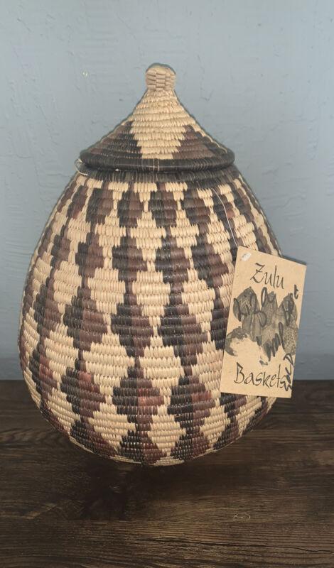 "African Zulu Ukhamba Beer Basket W/Lid Tag Approx 15"" Tall X 33"" Handmade 2005"