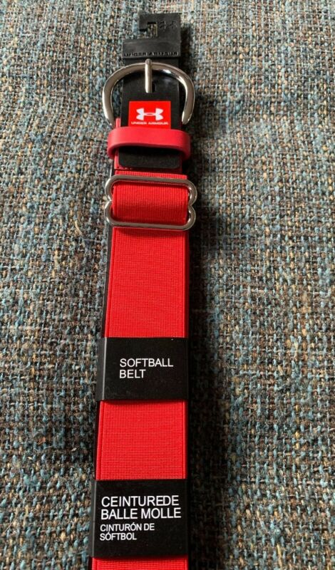 Nwt Under Armour Softball Belt Red  Adjustable To 42 Inches T9