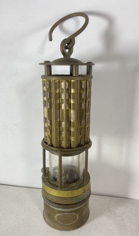 Wolf Safety Lamp Co Miners Lamp Lantern New York USA Brass w/ Glass Hanging
