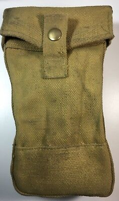Original Early WW2 British P 37 Heavy Canvas Ammo Pouch with Ballistite Loops