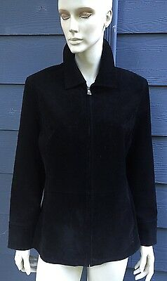 Bernardo Exclusively For Nordstrom Women's Suede Jacket Black Leather Lined Sz L